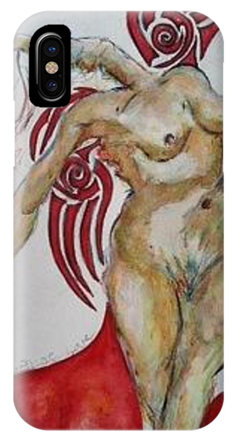 Angel IPhone X Case featuring the painting Angel Of Love by Suzanne Macdonald