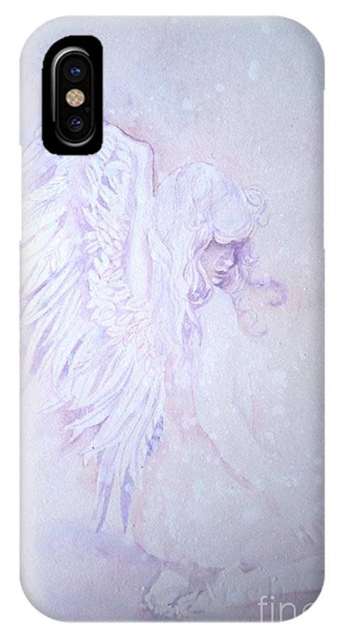 Angel Snow IPhone X Case featuring the painting Angel by Sandra Phryce-Jones