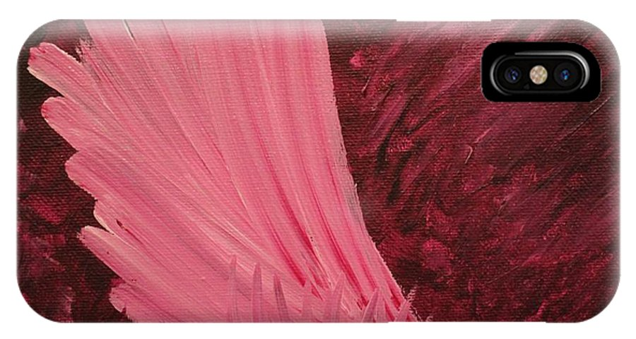Angel IPhone X Case featuring the painting Angel Wing by Kristen Newman