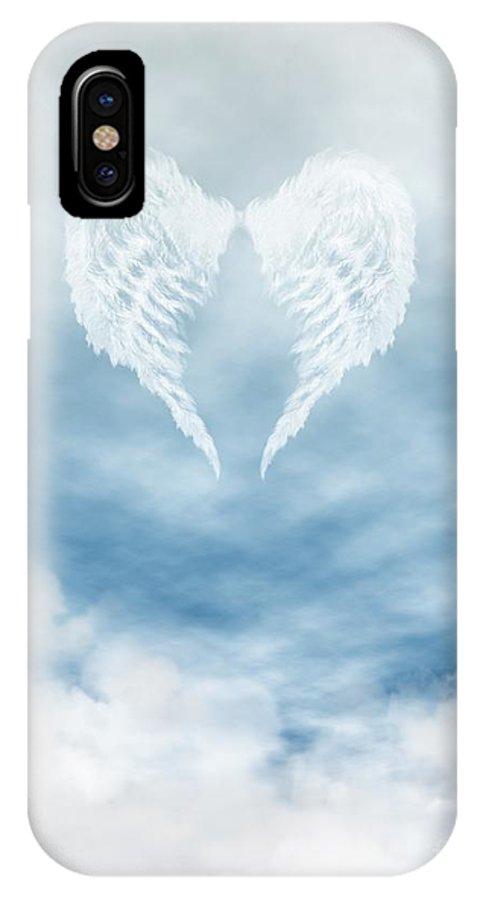 Angel Wings In Cloudy Blue Sky Iphone X Case