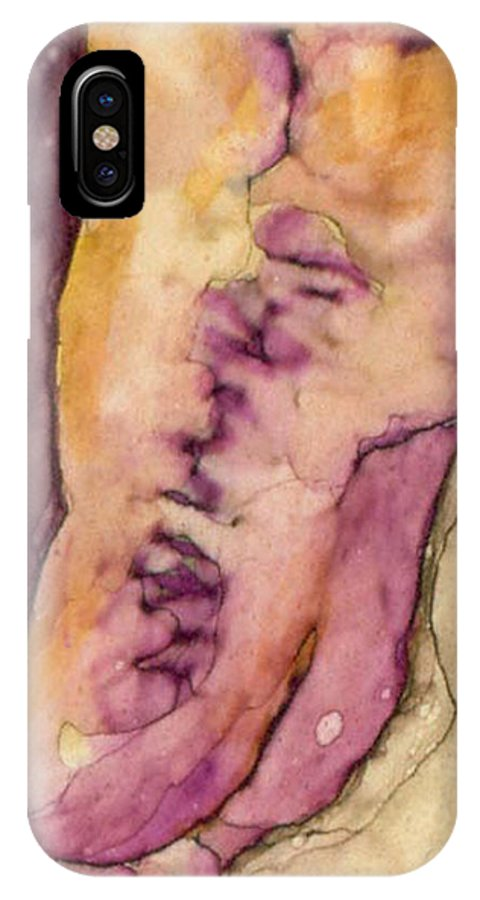 Illustration IPhone X Case featuring the painting Angel's Descent by Carrie MaKenna