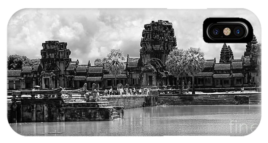 Angkor Wat IPhone X Case featuring the photograph Angkor Black White by Chuck Kuhn