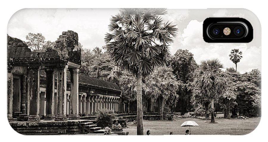 Angkor Wat IPhone X Case featuring the photograph Angkor Wat Bw II by Chuck Kuhn