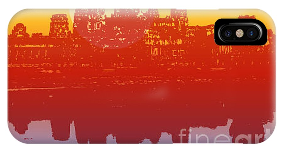 Shadow IPhone X Case featuring the digital art Angkor Wat In Sunset Vector - by Fat fa tin