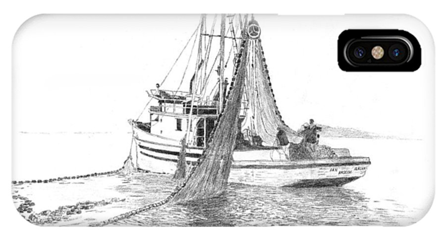 Alaska Seiner IPhone X Case featuring the drawing Angoon Seiner 2 by John Jensen