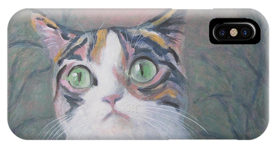 Anguish Of A Cat IPhone X Case featuring the painting Anguish Of A Cat by Kazumi Whitemoon