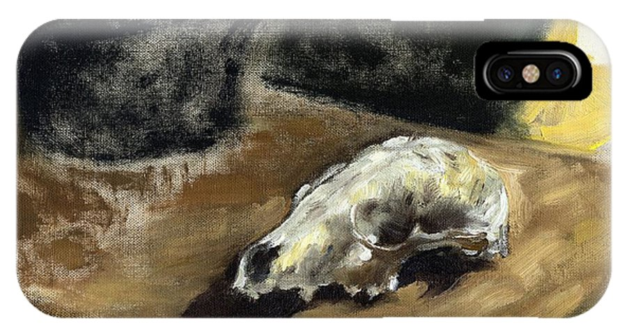 Oil IPhone X Case featuring the painting Animal Skll by Geoffrey Haun