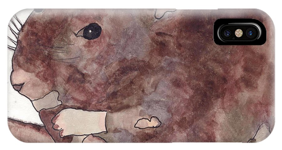Rat IPhone X Case featuring the painting Annie's Taill by Dawn Boswell Burke