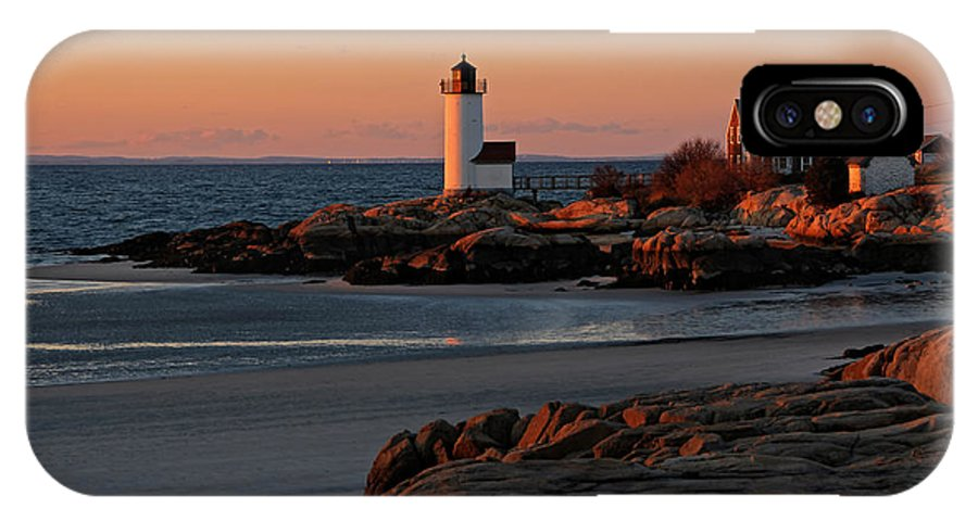Annisquam Lighthouse IPhone X Case featuring the photograph Annisquam Lighthouse At Sunset by Liz Mackney