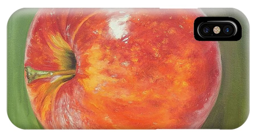 Apple IPhone X Case featuring the painting Another Apple by Graciela Castro