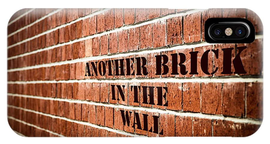 Brick Wall IPhone X Case featuring the digital art Another Brick In The Wall by Purple Moon