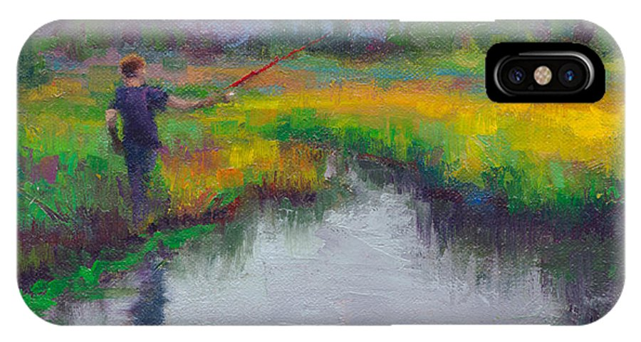 Boy IPhone X Case featuring the painting Another Cast - Fishing In Alaskan Stream by Talya Johnson