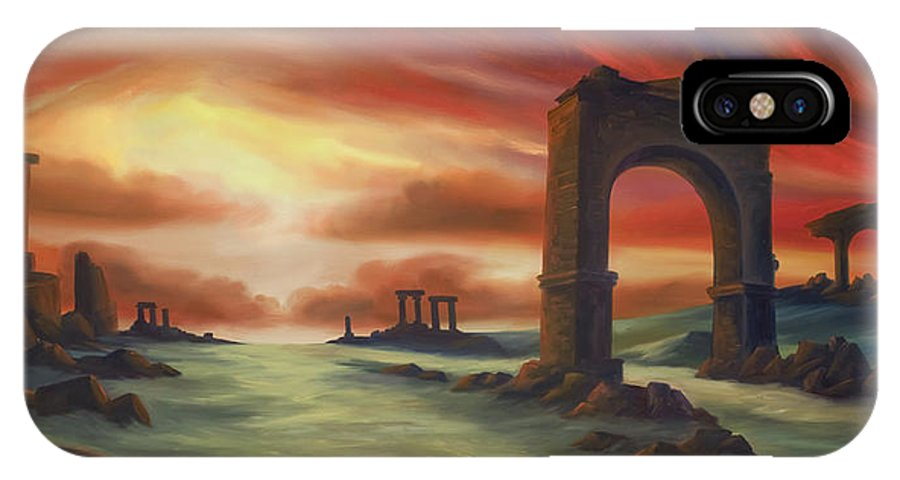 Sunset IPhone X / XS Case featuring the painting Another Fallen Empire by James Christopher Hill