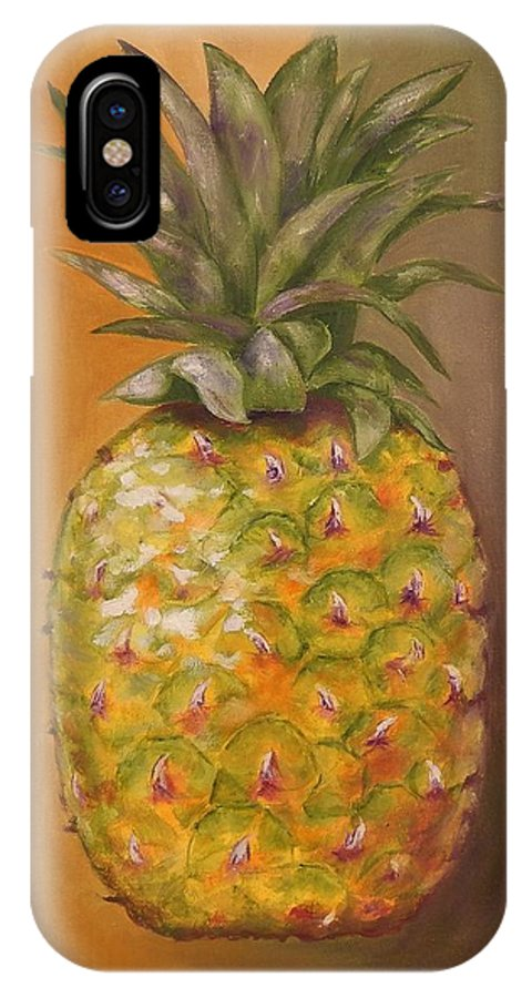 Pineapple IPhone X Case featuring the painting Another Pineapple by Graciela Castro