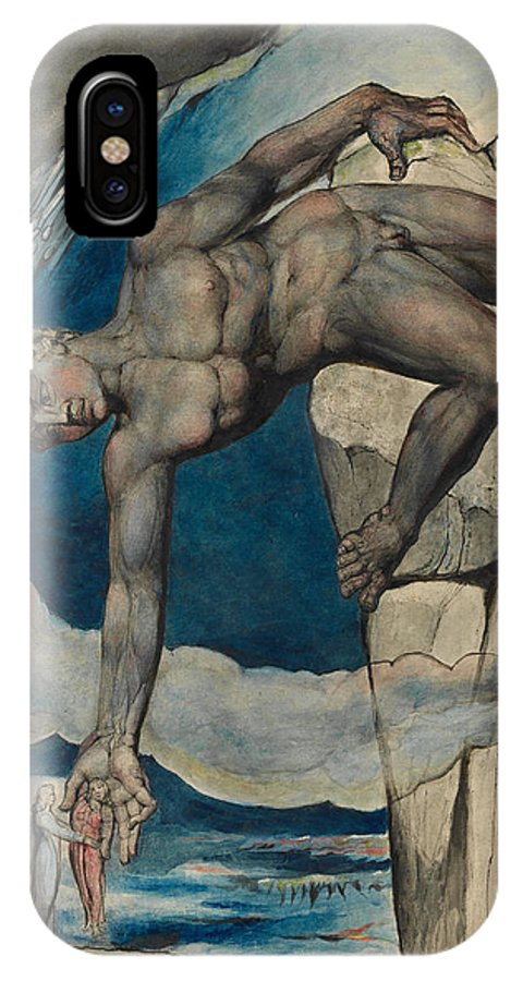 William Blake IPhone X Case featuring the painting Antaeus Setting Down Dante And Virgil In The Last Circle Of Hell by William Blake