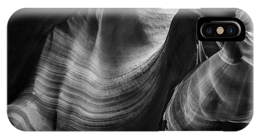 3scape Photos IPhone X Case featuring the photograph Antelope Canyon Waves Black And White by Adam Romanowicz