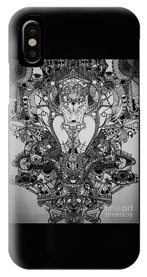 Michael Kulick IPhone X Case featuring the drawing Antichrist by Michael Kulick