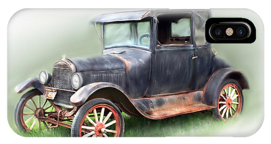 Model T Car IPhone X / XS Case featuring the painting Antique Car by Bonnie Willis