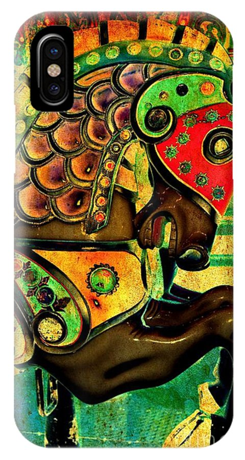 Carousel IPhone X Case featuring the digital art Antique Carousel Horse by Patty Vicknair
