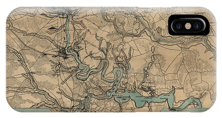 Richmond IPhone X Case featuring the drawing Antique Civil War Map Of Richmond And Petersburg Virginia By William C. Hughes - Circa 1864 by Blue Monocle