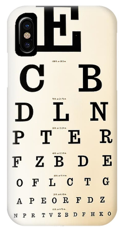 Eye Chart IPhone X Case featuring the digital art Antique Eye Chart by Lori Frostad
