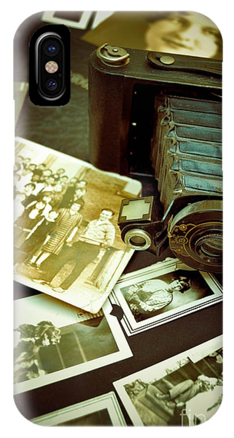 Album IPhone X Case featuring the photograph Antique Kodak Camera And Vintage Photographs by Amy Cicconi