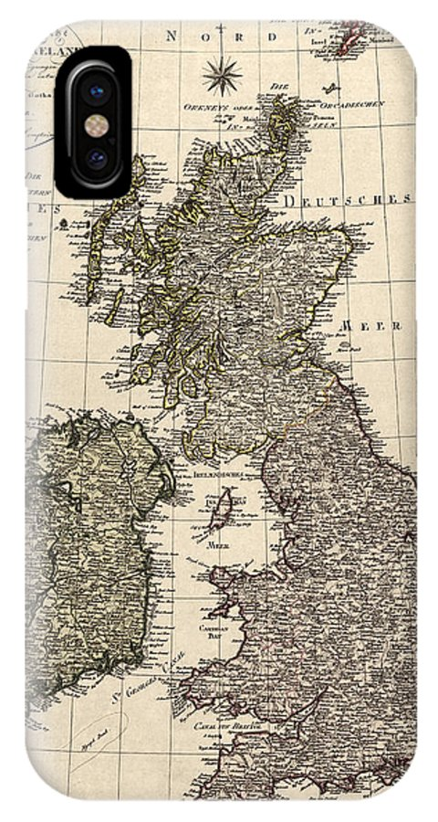 Great Britain IPhone X Case featuring the drawing Antique Map Of Great Britain And Ireland By I. G. A. Weidner - 1801 by Blue Monocle