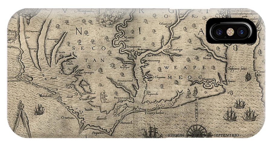 North Carolina IPhone X Case featuring the drawing Antique Map Of North Carolina And Virginia By John White - 1590 by Blue Monocle