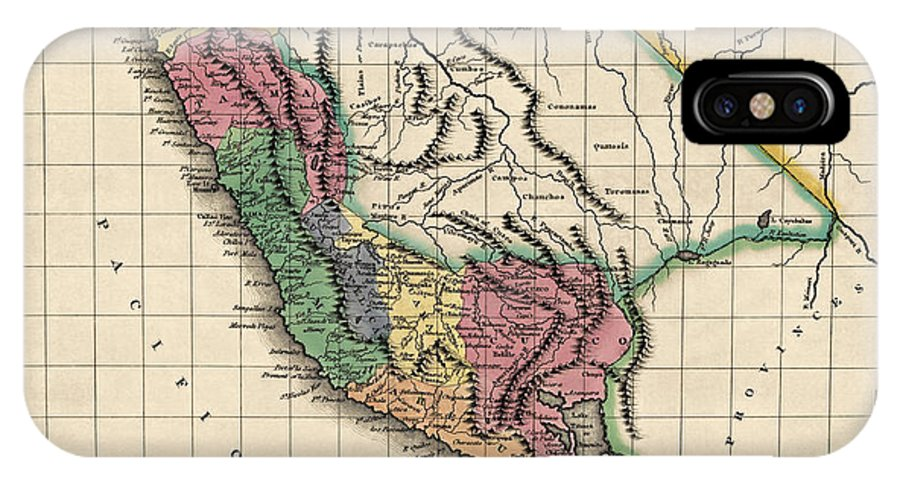 Peru IPhone X Case featuring the drawing Antique Map Of Peru By Henry Charles Carey - 1822 by Blue Monocle