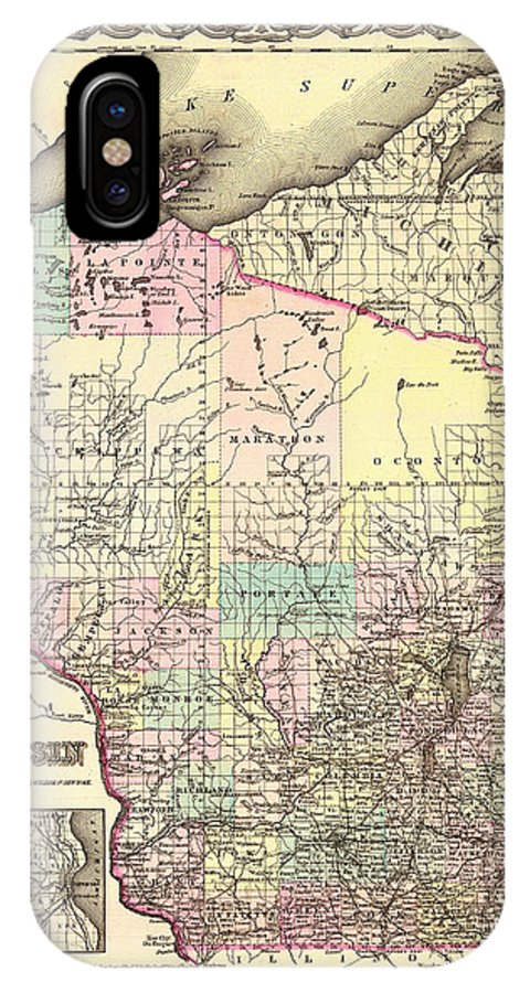 Map IPhone X Case featuring the drawing Antique Map Of Wisconsin 1855 by Mountain Dreams