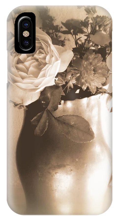 Antique Rose IPhone X Case featuring the photograph Antique Vase And Roses by Diana Besser