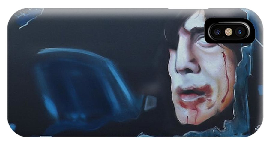 Anton Chigurh IPhone X Case featuring the painting Anton Chigurh No Country For Old Men by Matt Burke
