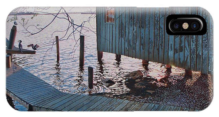 Florida IPhone X Case featuring the painting Apalachacola Fish House by Alan Mintz