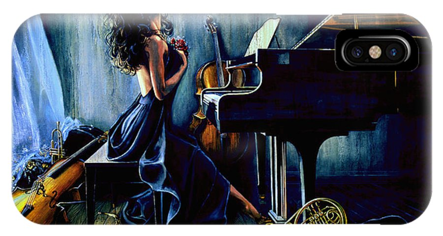 Musical Instrument Still Life IPhone X Case featuring the painting Appassionato by Hanne Lore Koehler