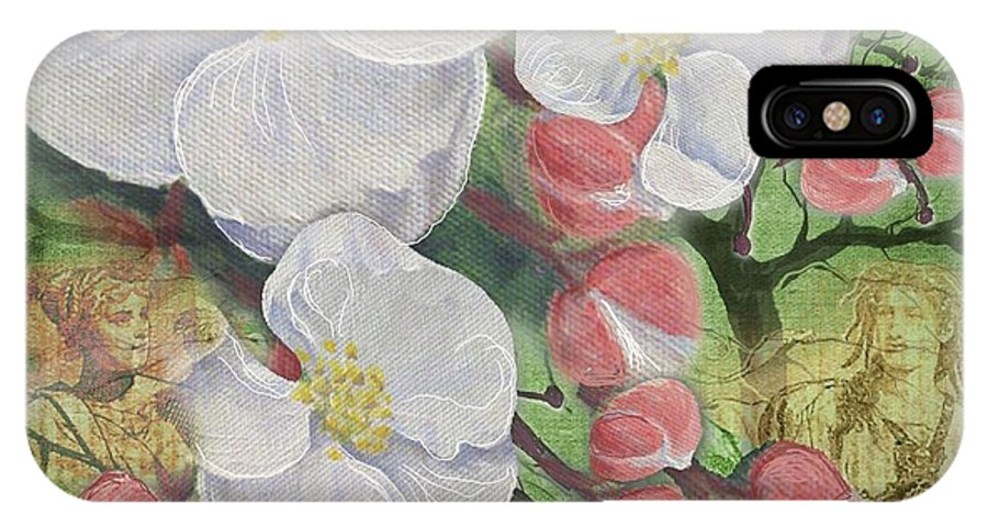 Apple Blossom IPhone X Case featuring the painting Apple Blossom Collage by Sharon Marcella Marston