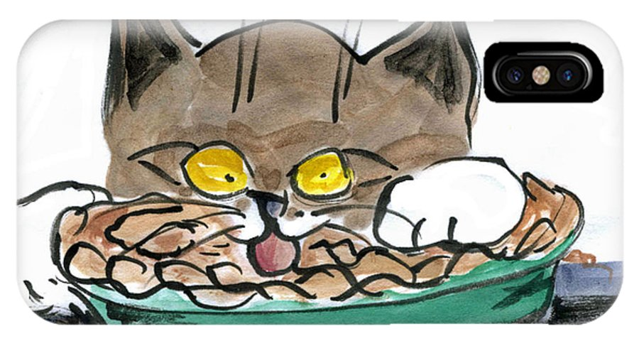 Sumi-e IPhone X Case featuring the painting Apple Pie Vs. Hungary Cat by Ellen Miffitt