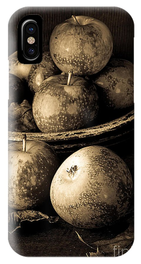 Fruit IPhone X Case featuring the photograph Apple Still Life Black And White by Edward Fielding