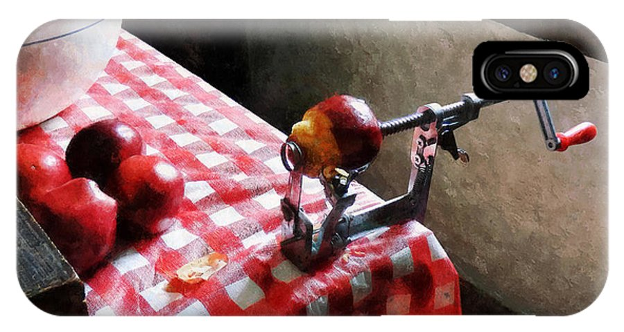 Apple IPhone X Case featuring the photograph Apples And Apple Peeler by Susan Savad