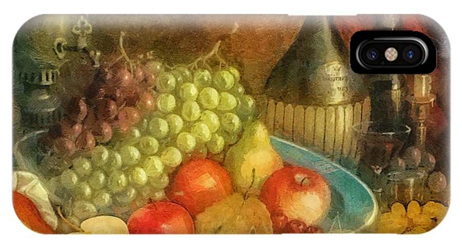 Apples And Grapes IPhone X Case featuring the painting Apples And Grapes by Mo T