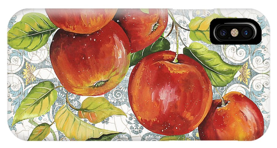 Painting IPhone X Case featuring the painting Apples On Damask by Jean Plout