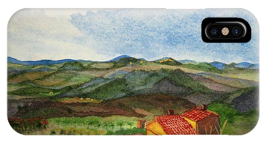 Approaching Montepulciano IPhone X Case featuring the painting Approaching Montepulciano by Martha Kuper Brinson