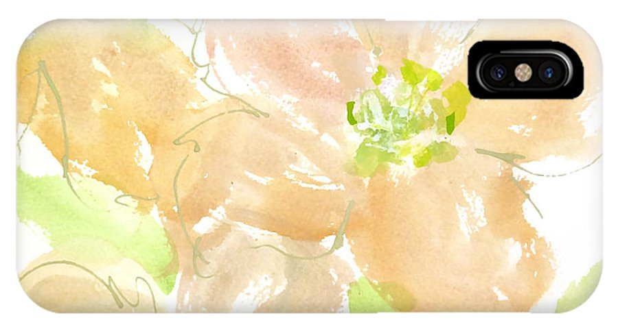 Original And Printed Watercolors IPhone X Case featuring the painting Apricot Quince by Chris Paschke
