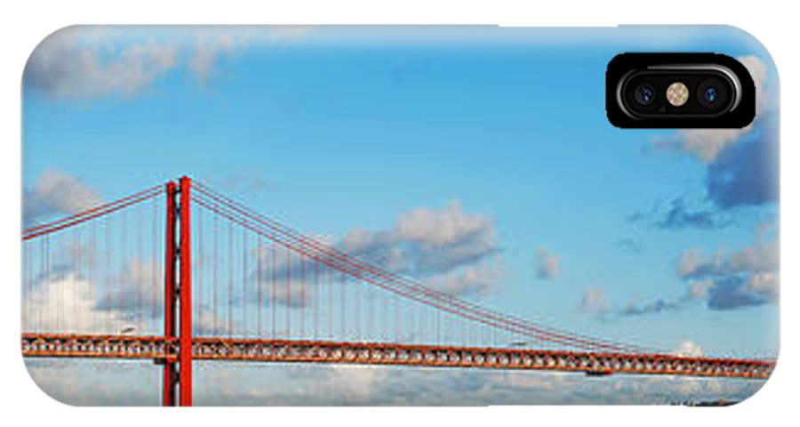 April IPhone X Case featuring the photograph April 25th Bridge In Lisbon by Luis Alvarenga