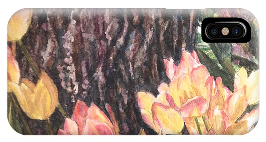 Flowers IPhone X Case featuring the painting April On Pearl St by Carol Warner