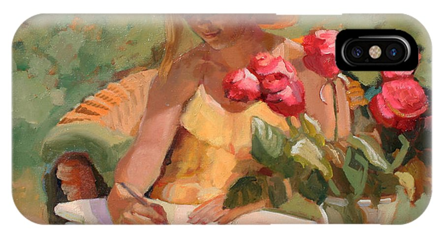 Woman Writing IPhone X Case featuring the painting April by Sally Rosenbaum