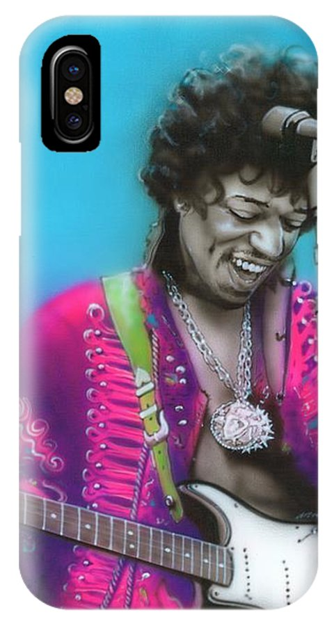 Jimi IPhone X Case featuring the painting Aqua Haze by Christian Chapman Art