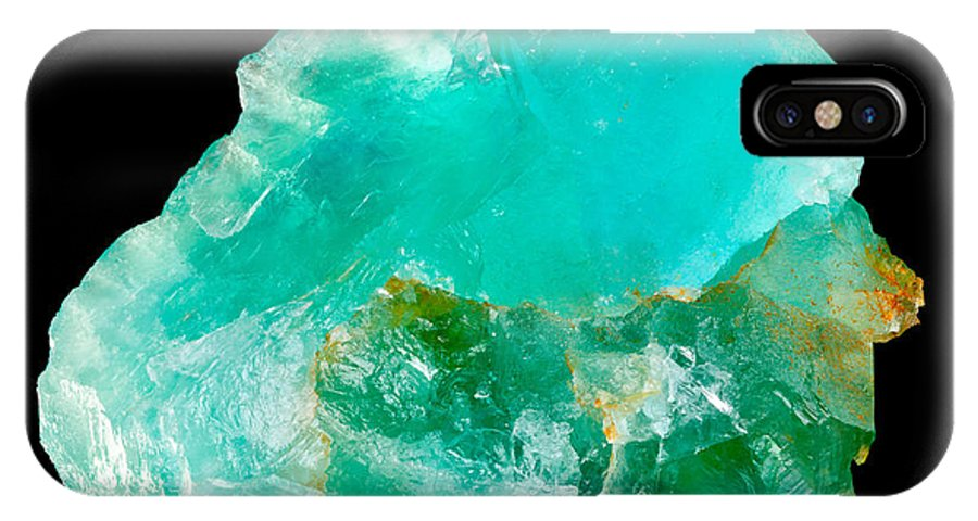 Fluorite IPhone X Case featuring the photograph Aquamarine Fluorite Crystal by Shawn Hempel