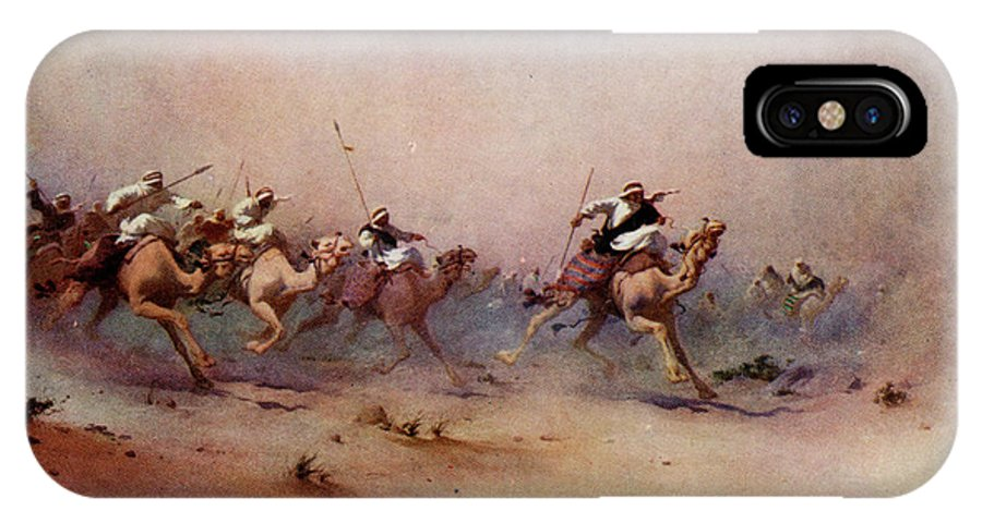 Sandstorm IPhone X Case featuring the drawing Arab Riders Spur Their Camels by Mary Evans Picture Library