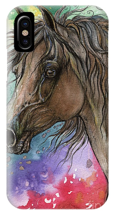 IPhone X Case featuring the painting Arabian Horse And Burst Of Colors by Angel Ciesniarska