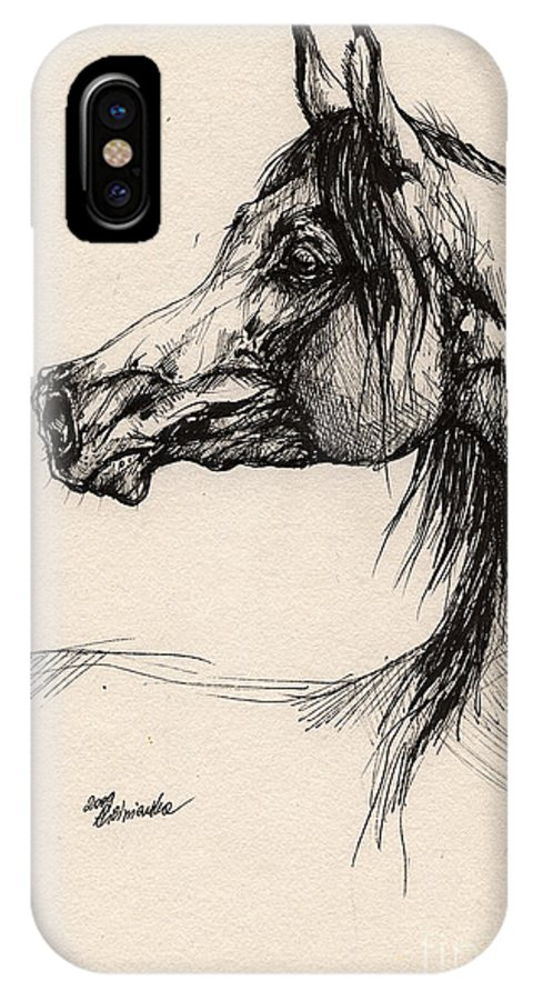 Horse Drawing IPhone X Case featuring the drawing Arabian Horse Drawing 26 by Angel Ciesniarska